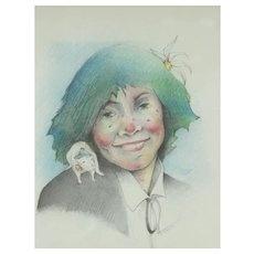 Catalina Chervin, Argentina Painting, The Clown's Little Apprentice, Colored Pencils, 31 x 24 cm
