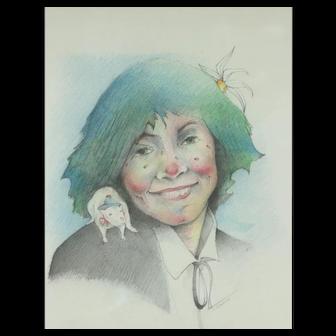 Catalina Chervin, Argentina Painting, The Clown's Little Apprentice, Colored Pencils, 31 x 24 cm