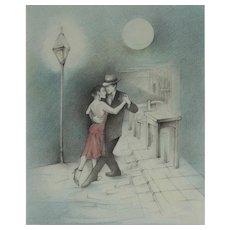 Catalina Chervin Painting, Argentina, La Esquina de Tango, Colored Pencils, 33 x 27 cm