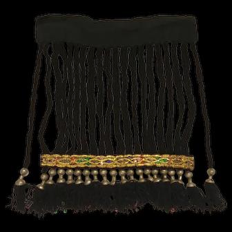 Vintage Traditional Uzbekistan Handmade Women's Head Ornament, Gold Embroidery, L 42 cm