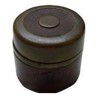 Antique 19C European Brass Leather-Covered Traveling Inkwell, circa 1880, H 3.7 cm