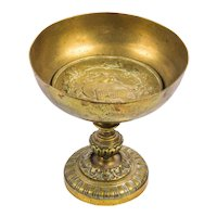 Antique circa 1900 French Marked Bronze Tazza, Louis Théophile Hingre (1832-1911), H 12.5 cm