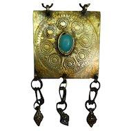 Antique 19th Century Turkoman Turkmen Low Silver and Gold Pendant, Turquoise Gemstone, 4 x 4 cm