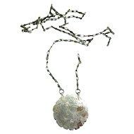 Antique 19C Turkoman Turkmen Amulet Talisman Metal Pendant, D 4.4 cm