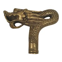Quality Old Vintage Chinese Brass Scaly Dragon Walking Stick Handle, W 12.2 cm, H 10 cm