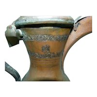 Vintage Islamic Brass Bedouin Dallah Coffee Pot, Arabic Calligraphic Seal, H 26.5 cm