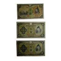 Lot 3 Vintage 1930 Japanese Banknotes, 5 and 10 YEN, ND Issue, Vermilion Seal Stamping