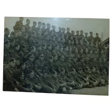 Original Vintage WW2 Military Group Photo British Soldiers and Officers in Uniform, 17 x 23.5 cm