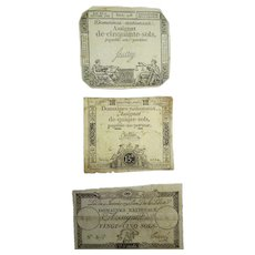 Lot 3 Antique 18C  1792 French Woodblock Print Tokens, Domaines Nationaux Assignat de 15-25-50 Sols