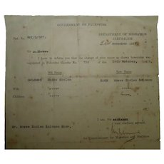 Vintage 1937 Government of Palestine Immigration Dept. Jerusalem, Signed Letter