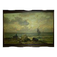 Antique Signed Adolf Kaufmann (1848-1916) Genre Oil Painting, Seascape, 49 x 77 cm