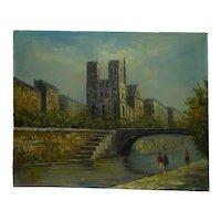 Vintage Oil Painting, Notre Dame Paris and River Seine, Signed CONDEN, 41 x 51 cm