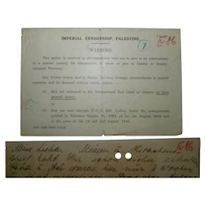 WW2 1941 Imperial Censorship Palestine Warning, Returned Handwritten Letter to Wartime Germany
