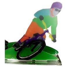 Ofer Edinburg Modern Art 3D Layered Acrylic Glass Sculpture Mountain Bike Rider, H 24 x 31 cm