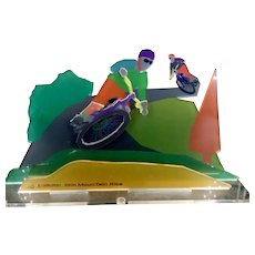 Ofer Edinburgh Modern Art, 3D Acrylic Glass Sculpture, Mountain Bikes, 18.5 x 31 cm