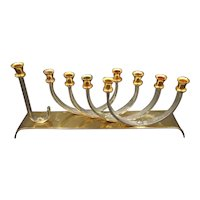 Modernistic Israeli Karshi Kinetic Chanukah Hanukkah Menorah, Gold- and Silver-Plated, W 27.5 cm