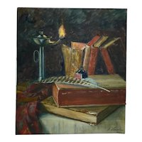 Antique 1901 Signed Russian Oil Painting, The Scribe's Quilt & Books,  A. Vanselow, 49 x 43 cm
