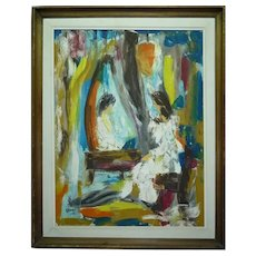 Large Vintage 1972 Impasto Oil Painting, Girl Playing Piano in Mirror, Signed KLEINHAUT, 70 X 53.5 cm