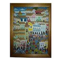 Vintage S. American Oil Painting /C, Signed Sergio Militao, Street Dancers in Seaside Town, 40 x 30 cm