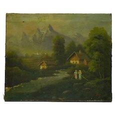 Antique Late 19C Signed European Oil Painting, Women in Village River Scene, 37.5 x 46 cm