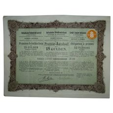 Antique 1904 Holland Federal Land Credit Association Bond Certificate, Amsterdam, VGC