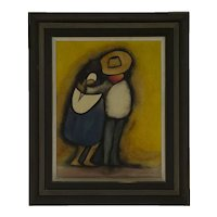 """Vintage Abstract Signed Oil Painting """"Courting Couple"""", Juan Ramirez, Mexico, Dated '78,  45 x 35 cm"""