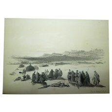 Antique 1856 David Roberts London Stone Lithograph, Encampment of Alloeen in Wady-Araba