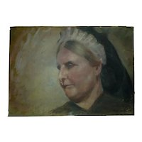 Antique 19C Double-Sided Oil Painting /B, American Women, Signed Charllotte L.,  34.5 x 48 cm