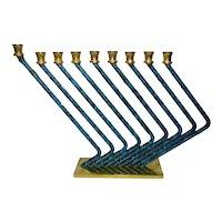 Modernistic Israeli Karshi Blue Enamel Chanukah Hanukkah Menorah, Gold- and Silver-Plated, H 18 cm