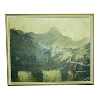 Vintage Oil Painting, Signed Neogrady, Boat on Lake in Mountain Scene, 40 x 52 cm