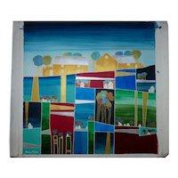 Vivid Abstract Signed Oil Painting, Marita Milkis Russian-Israeli Artist, Houses & Hills, 60 x 60 cm
