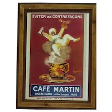 Vintage French Mixed-Media Lithographic Poster, Cafe Martin, Eugene Martin, 42.5 x 30 cm