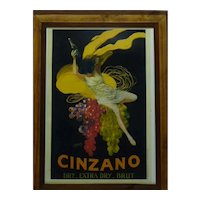 Vintage French Mixed-Media Lithographic Poster, Cinzano Brut, Cappiello, Paris, 42.5 x 30 cm