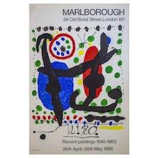 Joan Miro Original Vintage 1966 Lithographic Poster Marlborough Exhibition, Printed Paris, 74 x 50 cm
