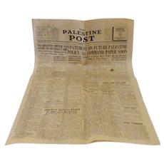 Vintage 1939 Palestine Post Historic Newspaper, British Policy Declaration, 58.5 x 39.5 cm
