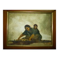 Vintage Signed Mexican Oil Painting, Fernando Melena Nunez, Mother and Child, 29 x 39 cm