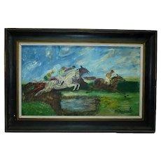 Old Vintage Impasto Oil Painting, The Horse Race & Jockeys, Signed M. Mougrabi, 30 x 50 cm