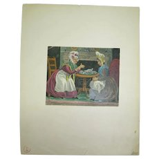 Antique 19C Signed Chromolithograph Two Old Victorian Women at Tea, Signed Seandal, 11 x 13.6 cm