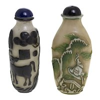 Two Original Vintage Chinese Milk-Glass Snuff Bottles, Scene Overlays, Marked Seal, H 8-8.5 cm