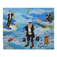 Herhel BEN-HAIM Vintage Judaica Oil Painting, Shtetel Scenes, 24 x 30 cm