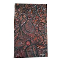Okuku African Artist, Vintage 1982 Signed Oil Painting, Abstract African Tribals, 63 x 38.5 cm