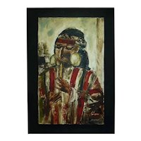 Vintage Peruvian Signed Impressionism Oil Painting by Amilcar Zorrilla Salomon, The Flute Player,  51 x 31 cm