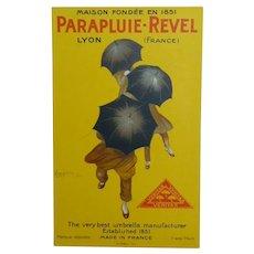 Leonetto Cappiello Lithographic Signed 1922 Poster, Parapluie-Revel, Devambez Paris , 18.5 x 11.5 cm