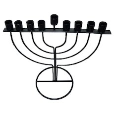 Modernistic Black Iron Chanukah Hanukkah Menorah, Simplistic Design, H 19.5 cm