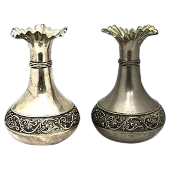Fine Pair of Antique Hand-Made Vera Lucino Silver-Plated Italian Vases, H 22.5 cm