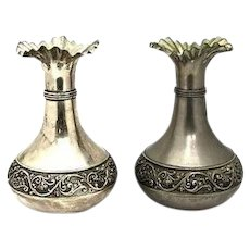 Pair of Antique Hand-Made Vera Lucino Silver-Plated Italian Vases, H 22.5 cm