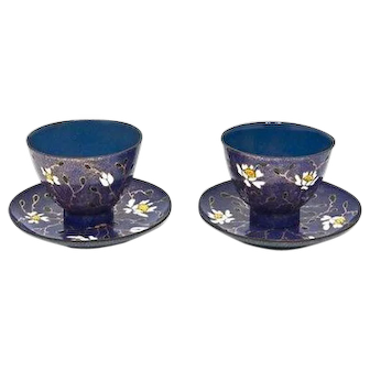 Vintage 1960s Pair Hand-Decorated Enamel Cups & Saucers, Signed Miguel Pineda, Mexico, H 5.7 cm
