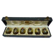 Antique Set 6 Art Nouveau Glass Goblets, German Monks by EDUARD RAU München, H 3.8 cm
