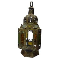 Antique Islamic Metal Mosque Hanging Lamp, Colored Glass Windows, H 45 cm