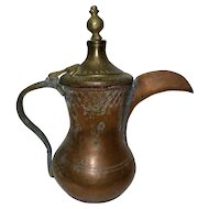 Antique Islamic Copper and Brass Bedouin Dallah Coffee Pot, Arabesque Seal, H 28 cm